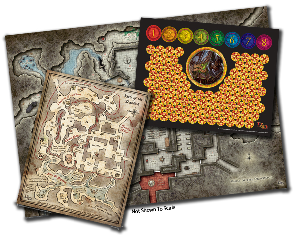 Contents of the kit sent to stores for Vault of the Dracolich included a huge map with stickers to mark dracolich and party locations and a player handout.